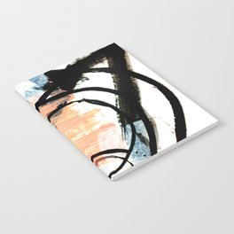 It comes and goes - a black and white abstract mixed media piece with pink details Notebook