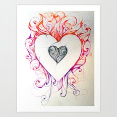 Heart/Fire Art Print