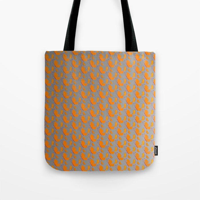 Orange butterflies pattern on grey background Tote Bag