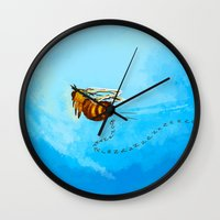 pushing daisies Wall Clocks featuring I'm pushing up my daisies for you by Rahciach