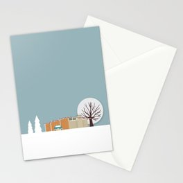 Retro series - Mid Century house in winter Stationery Cards