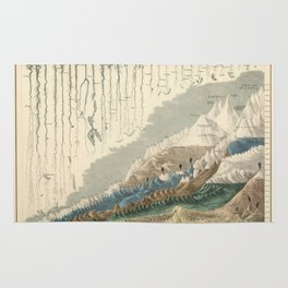 1854 Comparative Lengths of Rivers and Heights of Mountains Rug