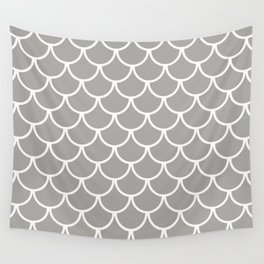 Grey Fish Scales Pattern Wall Tapestry