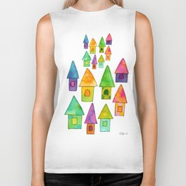 Home Sweet Home house illustration holiday gift family parents housewarming gift grandparents Biker Tank