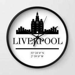 LIVERPOOL ENGLAND BLACK SILHOUETTE SKYLINE ART Wall Clock