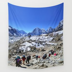 Trekking in Himalaya. Group of hikers  with backpacks   on the trek in Himalayas, trip  to the base  Wall Tapestry
