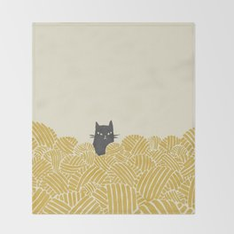 Cat and Yarn Throw Blanket
