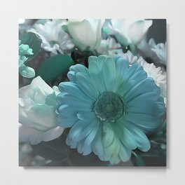 Blue And White Bouquet Metal Print