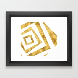 ART DECO VERTIGO WHITE AND GOLD #minimal #art #design #kirovair #buyart #decor #home Framed Art Print