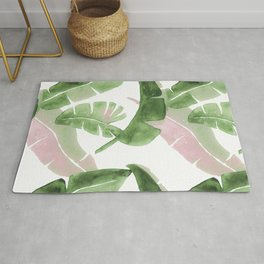 Tropical Leaves Green And Pink Rug