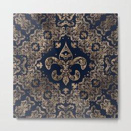 Luxury Fleur-de-lis Ornament - gold and dark blue Metal Print