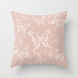 Butterflies on peach background Throw Pillow
