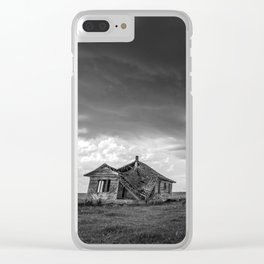 Sweeping Down the Plains - Abandoned House and Storm in Oklahoma Clear iPhone Case
