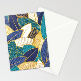 Leaf wall // navy blue royal blue and teal leaves golden lines Stationery Cards