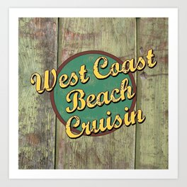 Biking Cycling West Coast Beach Cruising Art Print