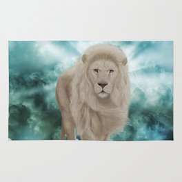Awesome white lion in the sky Rug