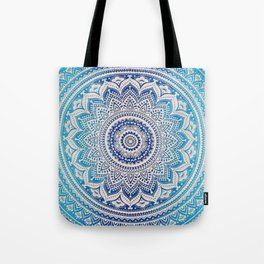 Teal And Aqua Lace Mandala Tote Bag