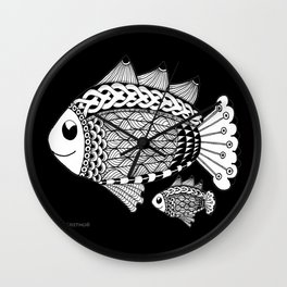 Fishies Zentangle Black and White Pen & Ink Wall Clock