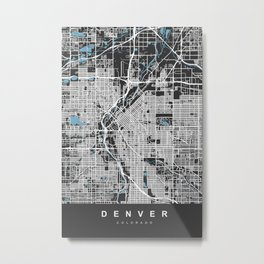Denver Map Colorado | Black & Blue II| More Colors, Review My Collections Metal Print