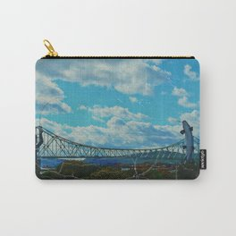 Aged Angler and Fish at the Campelton Bridge Carry-All Pouch