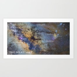 Star map version: The Milky Way and constellations Scorpius, Sagittarius and the star Antares. Art Print