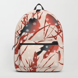 Winter pattern with bullfinches. Backpack