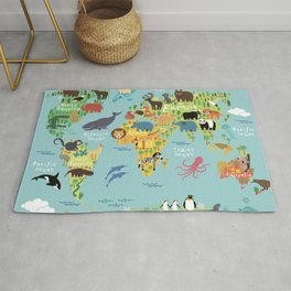 World animals map Rug