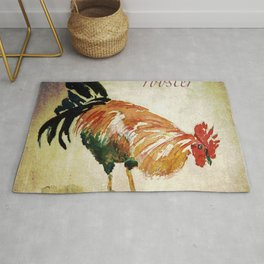 Rooster Watercolor Art by CheyAnne Sexton Rug