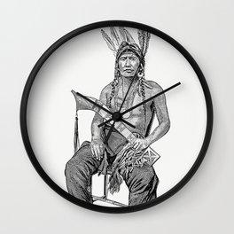 Native American man from The History of Benton County Iowa Wall Clock