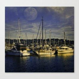 Newport Oregon Yaquina Bay - Sleeping Ships Canvas Print