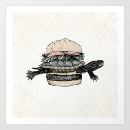 Turtle Sandwich   Desaturated Art Print