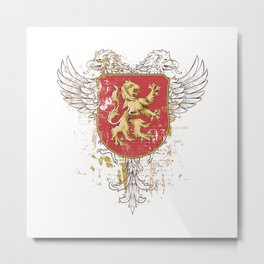 Coat of Arms Shield - Griffin Seal - Crown Lion and the Mark Metal Print