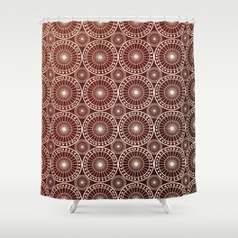 Circle Fretwork in red & gold Shower Curtain