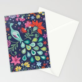 Peacock Sanctuary (navy) Stationery Cards
