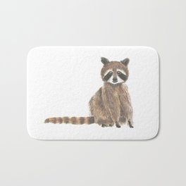 baby raccoon watercolor Bath Mat