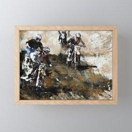 """""""Dare to Race"""" Motocross Dirt-Bike Racers Framed Mini Art Print"""