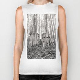 Nurse Stump Pacific Northwest Forest Cedar Trees Sepia Print Biker Tank