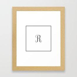 Monogram Letter R in Dark Grey Framed Art Print