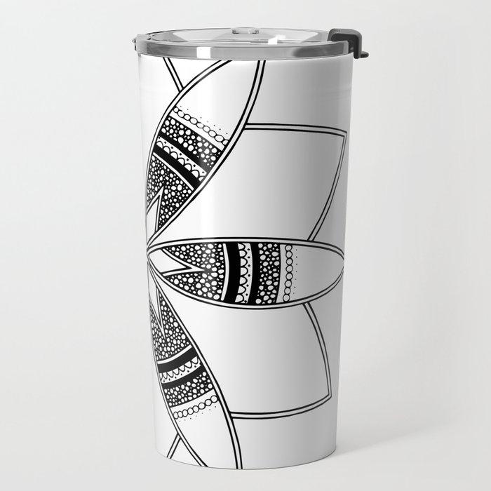 Simple black mandala on white Travel Mug