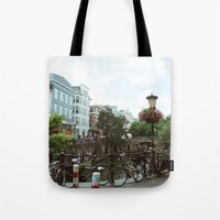 bicycles Tote Bags featuring Bicycles, Bicycles by Emily O