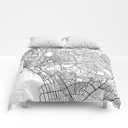 Manila Map, Philippines - Black and White Comforters