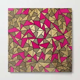 Glam Faux Gold, Black, and Pink Striped Triangles Geometric Metal Print