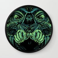 lovecraft Wall Clocks featuring The Cultist by Jorge Garza