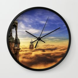 Wonderful Dreamy Church Towers Levitating In Sky UHD Wall Clock
