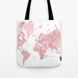 Light pink, muted pink and dusty pink watercolor world map with cities Tote Bag