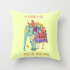 an Elephant a day Throw Pillow