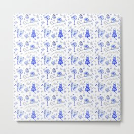 South Carolina Christmas Toile Blue-White pattern Metal Print
