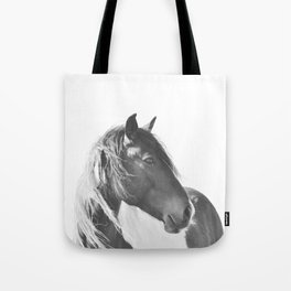 Stallion in black and white Tote Bag