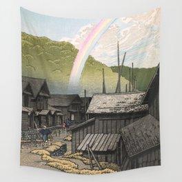 Hasui Kawase, Rainbow At Kanita, Aomori Prefecture - Vintage Japanese Woodblock Print Art Wall Tapestry