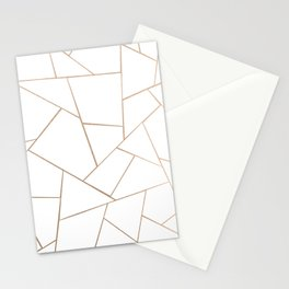 Rose Gold White Geometric Glam #1 #geo #decor #art #society6 Stationery Cards